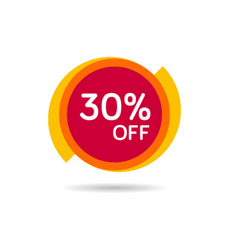30% OFF Discount Sticker. Sale Red Tag Isolated Vector Illustration. Discount Offer Price Label, Vector Price Discount Symbol. Vettoriali