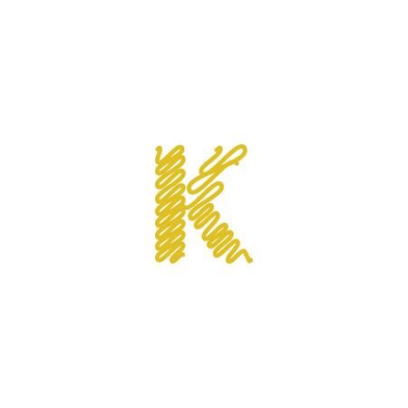 Initial letter K scribble gold logo