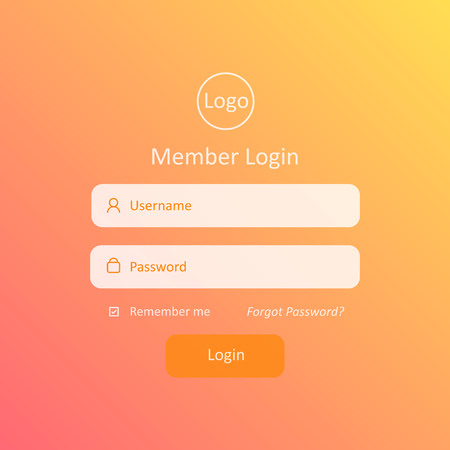 Member Login Template. For Website, Mobile, Computer, Application etc. Modern Design. Vector Illustration