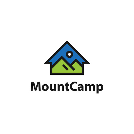 Mountain camp house. Vector logo template Illustration