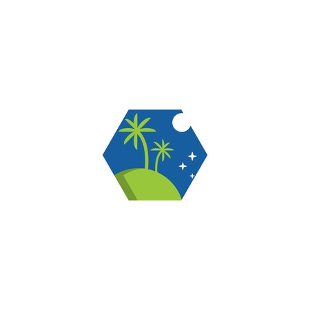 Night, island, travel. Vector logo template