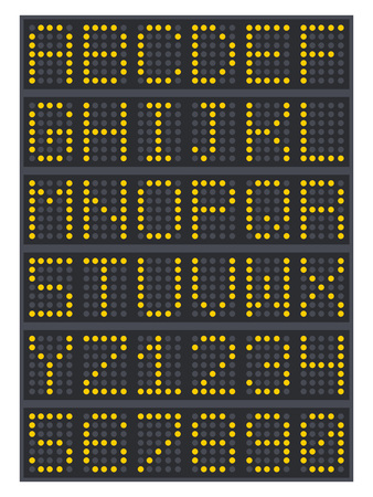 LED digital font and numbers display board for airport schedules, train timetables, scoreboard etc Vector.