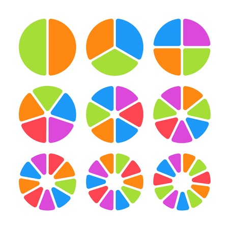 Set of colored pie charts. Templates sectoral graphs in flat style. Colorful elements for infographics. Vector