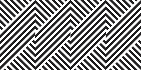 Seamless geometric pattern with striped black white background. Vector illusive background. Futuristic vibrant design.