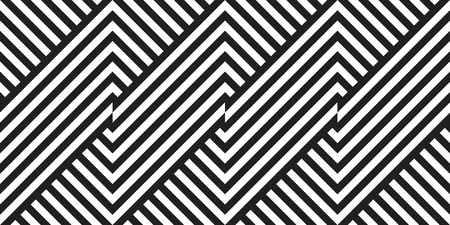Seamless geometric pattern with striped black white background. Vector illusive background. Futuristic vibrant design. 矢量图像