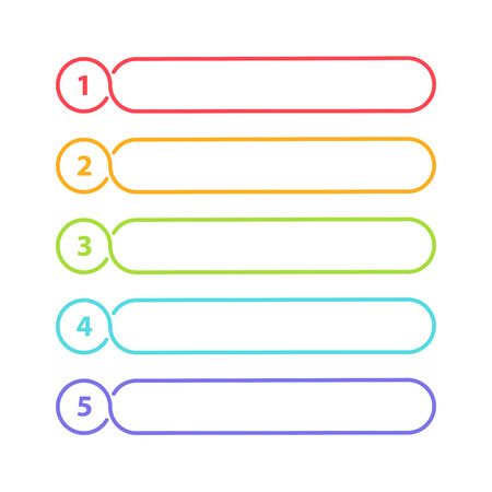 Vector One Two Three Four Five steps, progress or ranking banners with colorful tags.
