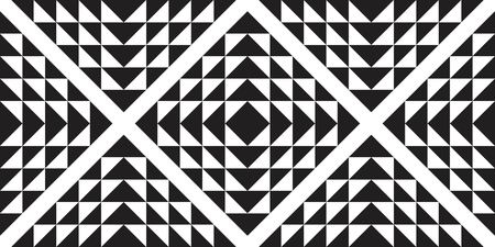 Seamless abstract triangle pattern with striped black white background. Vector illusive background. Futuristic vibrant design.