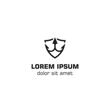 Trident with shield logo icon Logos