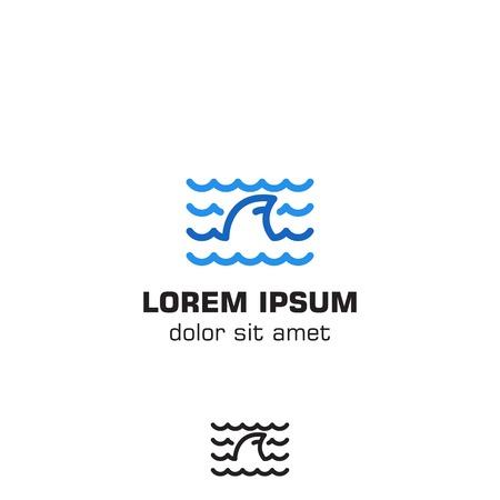 Shark fin wave logo icon