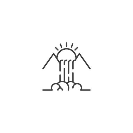 Waterfall mountain and sun line icon vector