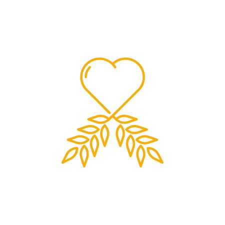 Love wheat agriculture organic logo icon vector template