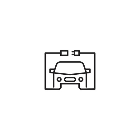 Electric car line icon vector Иллюстрация
