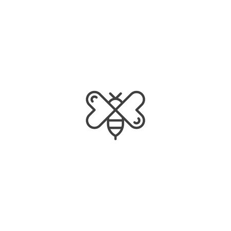 Bee with love wing logo icon template