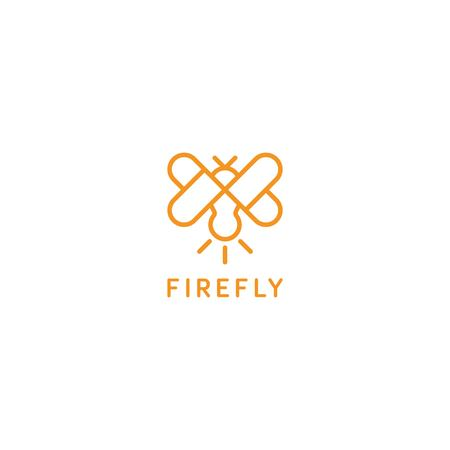 Firefly with love wing logo icon template Illustration
