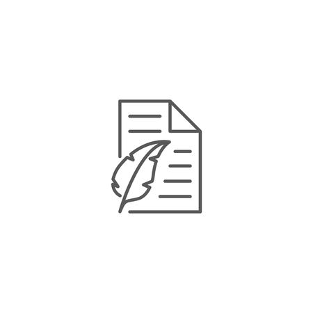 Paper with feather pen icon vector