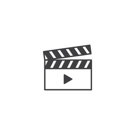Movie clapper board icon vector