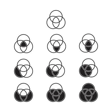 Setzt die grundlegende Operation der Theorie, Diagrammvenn-Symbolvektor Vektorgrafik