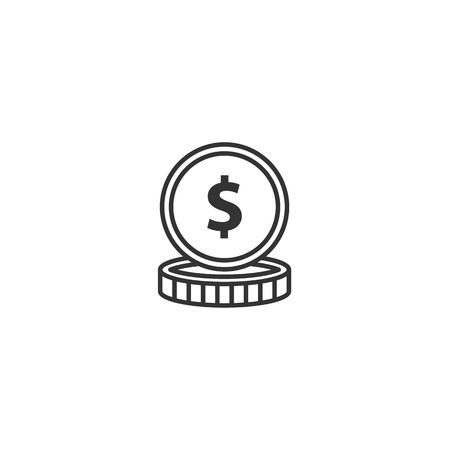 Coin line icon vector