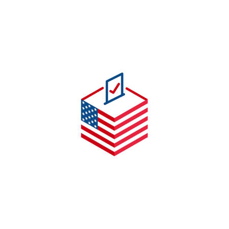 2020 election day in USA, voting president. Vector logo icon template Stock Illustratie