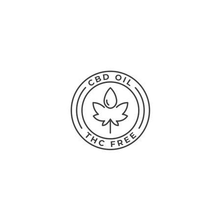 CBD oil THC free label. Vector logo icon template
