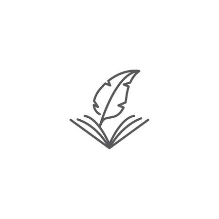 Book and feather pen. Vector logo icon template
