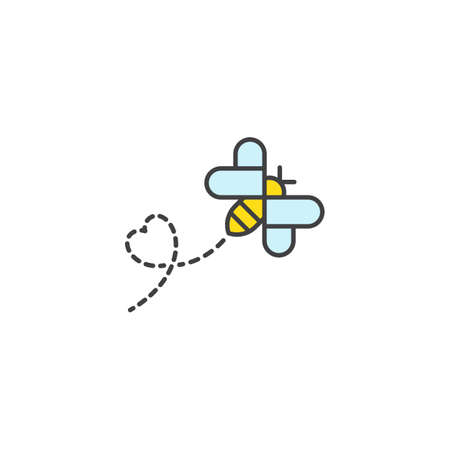 Flying bee love. Vector logo icon template 일러스트