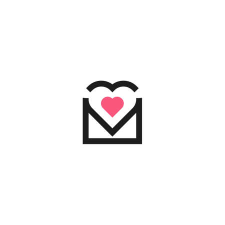 Love message, envelope heart. Vector logo icon template 일러스트