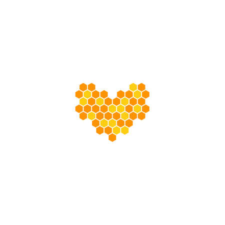 Love honey, bee hive shape heart. Vector logo icon template