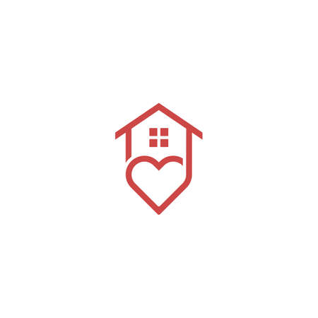 Love house, home care. Vector logo icon template 일러스트