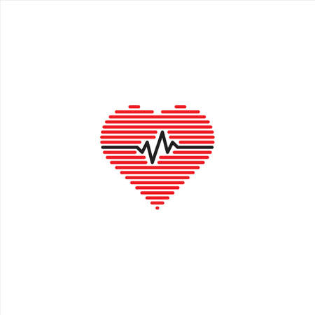Heart beat, love pulse. Vector logo icon template
