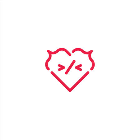 Love coding, heart code. Vector logo icon template
