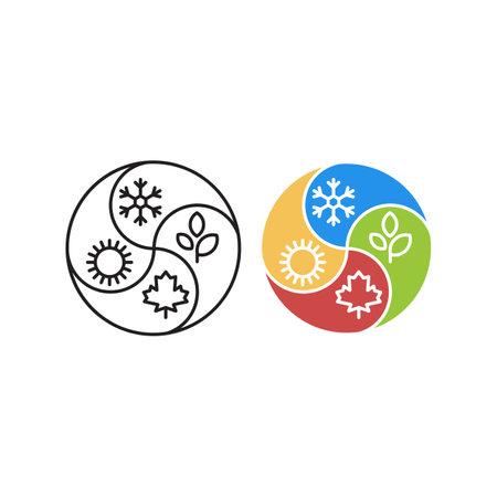 Four season, winter, summer, autumn, spring . Vector logo icon template