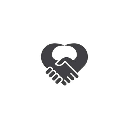 Handshake heart, love deal. Vector logo icon template 일러스트