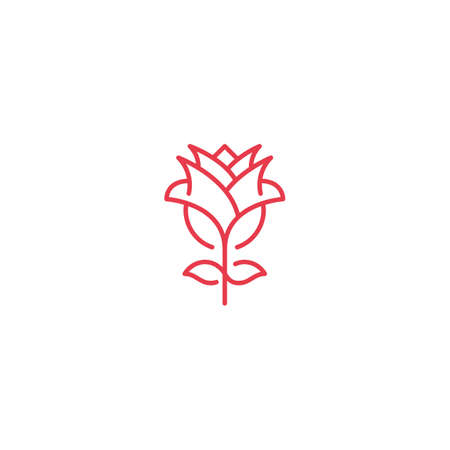 Red rose flower. Vector logo icon template 일러스트