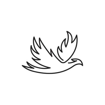 Phoenix bird one line. Vector logo icon template