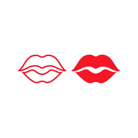 Woman red hot kiss lipstick. Vector logo icon template 일러스트