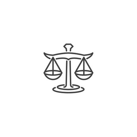 Balance weight, justice balance, law firm, libra. Vector icon template