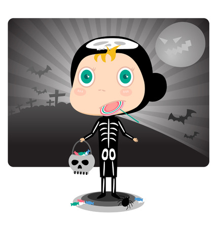 dressing up party: Skeleton Kids Halloween Costumes Vector file is eps 10 and uses transparency blends and gradient mesh