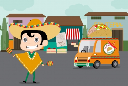 Vector cartoon of a Mexican chef in chef uniform and sombrero on roller skates delivering food with truck Vector