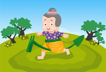 Thai children are playing  Download includes an AI10 EPS vector file  Vector
