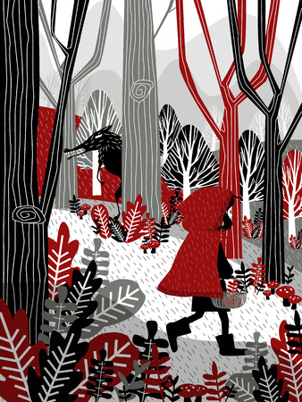 Illustration of Little Red Riding Hood with wolf behind her
