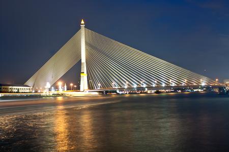 rama 8 suspension bridge at night ,Bangkok Thailand photo