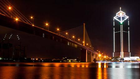 The king rama 9 suspension bridge in bangkok thailand