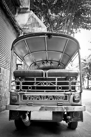 The motor-tricycle or tuk tuk taxi in bangkok thailand photo