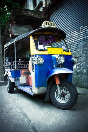 tuk tuk: The motor-tricycle or tuk tuk taxi in bangkok thailand Stock Photo
