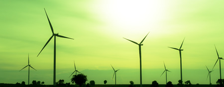 wind energy: The wind turbine generator,the renewable energy Stock Photo