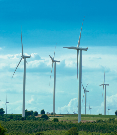 windturbines: The wind turbine generator,the renewable energy Stock Photo