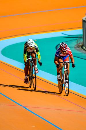 trial indoor: SUPHANBURI THAILAND-JANUARY 14:Thailand Cycling Championship 2014 at Suphanburi stadium on January 14,2014 Suphanburi District, Thailand