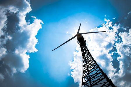 wind mill: The wind turbine generator,the renewable energy Stock Photo