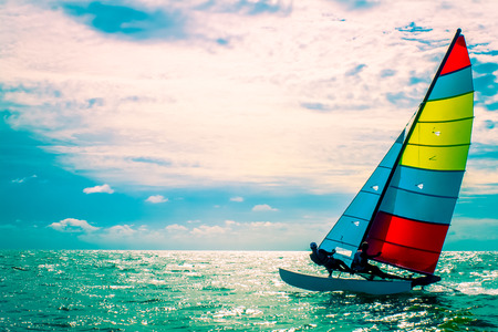 adventure sports: The sailboat, The enjoy activity in summer Stock Photo